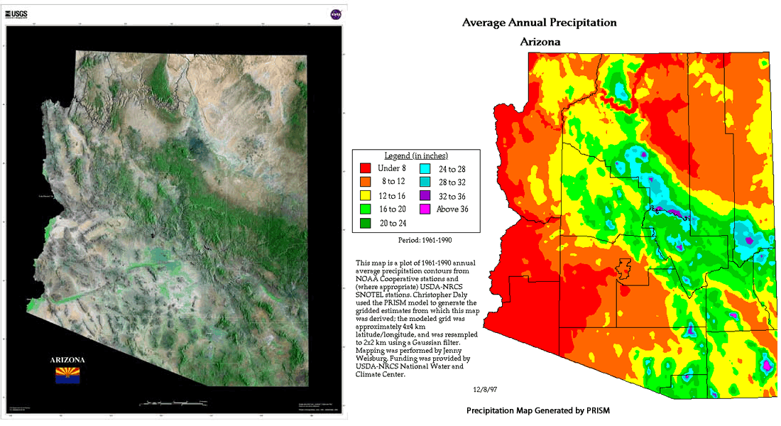 arizona a state of mild temperatures as well as extremes maps
