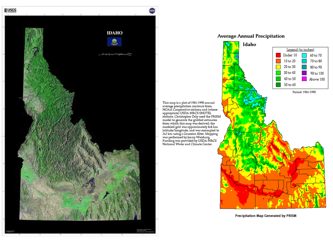 idaho idaho contrasts from mountains to plains maps
