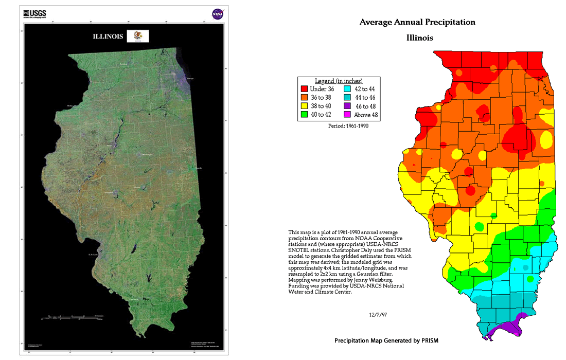 Climate in Illinois, Average Annual Precipitation Map