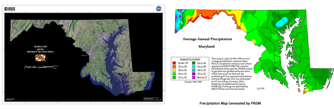 Average Annual Precipitation in MAryland