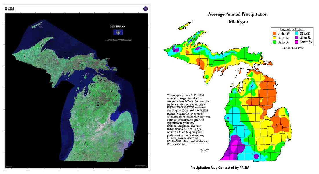 michigan michigan precipitation and great lakes proximity maps